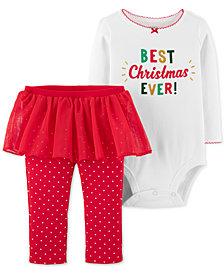 Carter's Baby Girls 2-Pc. Holiday Bodysuit & Tutu Leggings Set