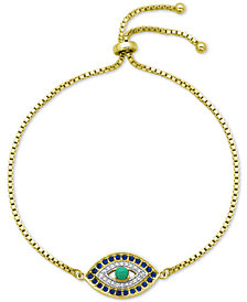 Giani Bernini Cubic Zirconia Evil Eye Bolo Bracelet in Sterling Silver, Created for Macy's
