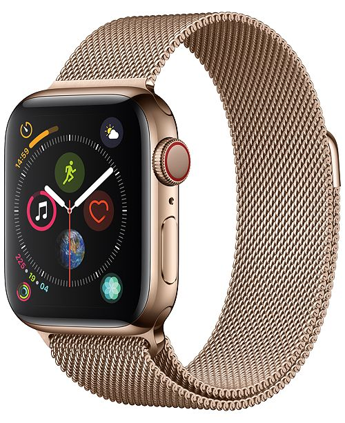 Apple Watch Series 4 AppleWatch Series4 GPS+Cellular, 40mm Gold Stainless Steel Case with Gold Milanese Loop