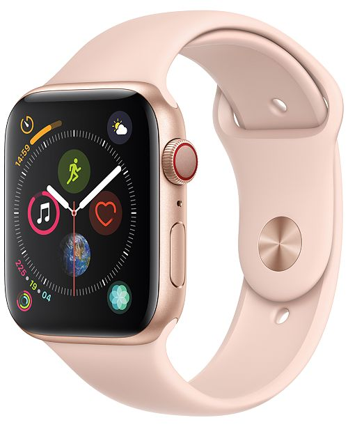 Apple Watch Series 4 AppleWatch Series4 GPS+Cellular, 44mm Gold Aluminum Case with Pink Sand Sport Band