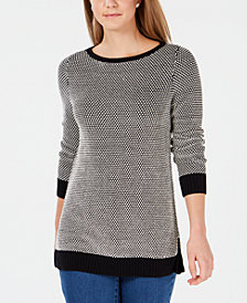 Charter Club Bicolor Boat-Neck Sweater, Created for Macy's