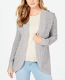 Charter Club Curved-Hem Button-Trim Cardigan Sweater, Created for Macy's