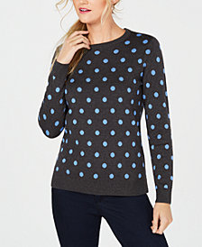 Charter Club Petite Patterned Crew-Neck Sweater, Created for Macy's