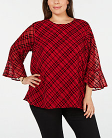 Calvin Klein Plus Size Bias Plaid Top