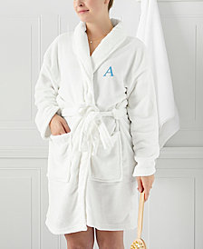 Cathy's Concepts Personalized White Plush Blue Embroidered Bath Robe