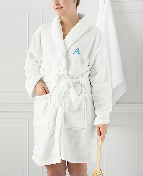 Cathy s Concepts Personalized White Plush Blue Embroidered Bath Robe   Cathy s Concepts Personalized White Plush Blue Embroidered Bath ... 187820061