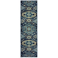 "Oriental Weavers Linden 4302A Navy/Blue 2'3"" x 7'6"" Runner Area Rug"