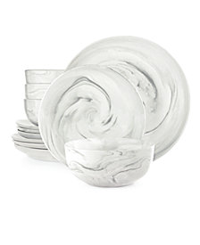Hotel Modern Marble  12-Pc. Dinnerware set, Service for 4, Created for Macy's