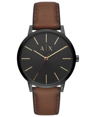 A|X Men's Cayde Brown Leather Strap Watch 42mm