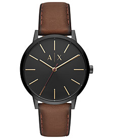 A|X Armani Exchange Men's Cayde Brown Leather Strap Watch 42mm
