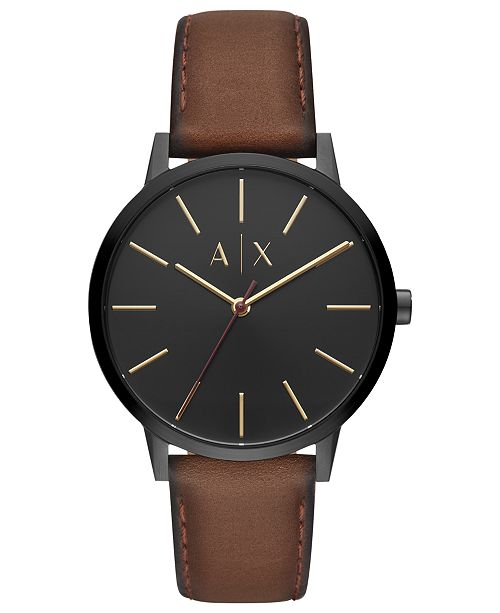 d57ce142b1be5 Armani Exchange A|X Men's Cayde Brown Leather Strap Watch 42mm ...