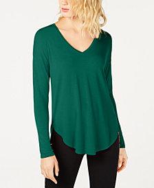 I.N.C. V-Neck Curved-Hem T-Shirt, Created for Macy's