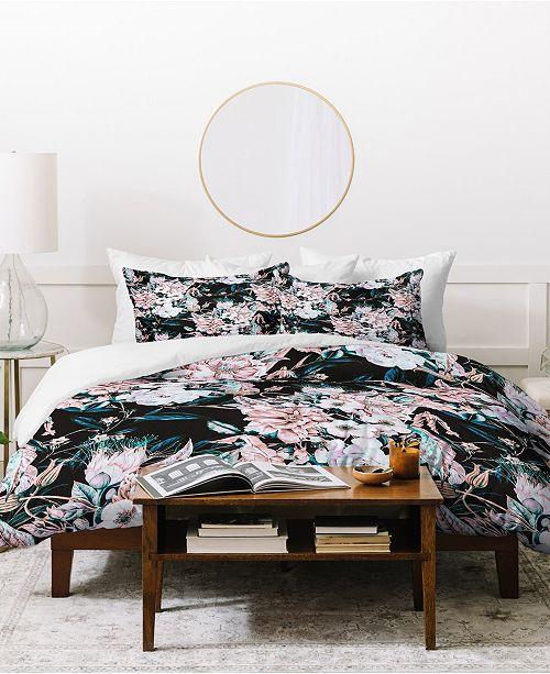 Deny Designs Marta Barragan Camarasa Dark Wild Pink Bloom Duvet Set