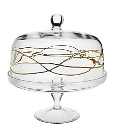 Classic Touch Glass Cake Stand With Dome With 14K Gold Swirl Design