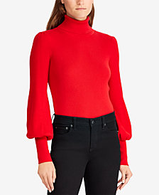 Lauren Ralph Lauren Ribbed Puff-Sleeve Sweater