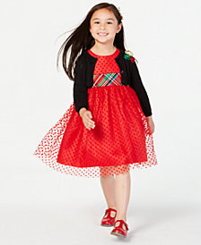Blueberi Boulevard Little Girls 2-Pc. Dress & Cardigan Set