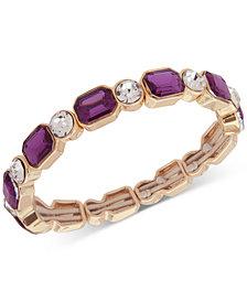 Anne Klein Gold-Tone Crystal & Stone Stretch Bracelet