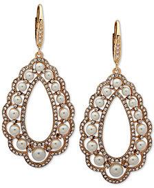 Anne Klein Gold-Tone Pavé & Imitation Pearl Chandelier Earrings