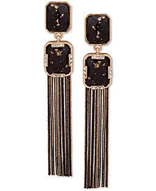 Anne Klein Gold-Tone Pavé & Stone Chain Tassel Drop Earrings