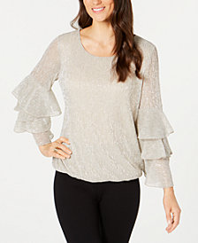Alfani Petite Metallic Tiered-Sleeve Bubble Top, Created for Macy's