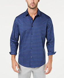 Alfani Men's Pieced Stripe Twill Shirt, Created for Macy's