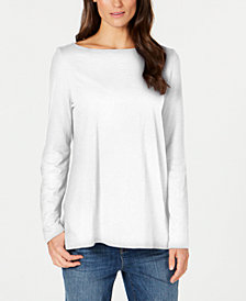 Eileen Fisher Organic Cotton Bateau-Neck Top, Regular & Petite