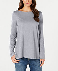 Eileen Fisher Organic Cotton Bateau-Neck Top, Regular & Petite