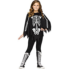 Skeleton Boy or Girls Poncho Costume