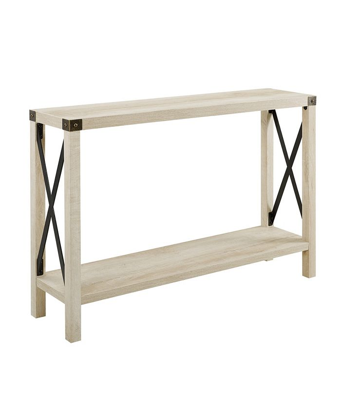 Walker Edison - 46 inch Metal X Entry Table in White Oak