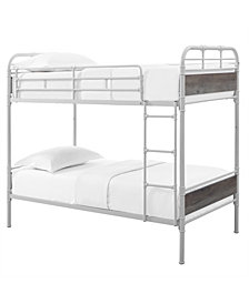 Twin over Twin Metal Pipe Wood Bunk Bed