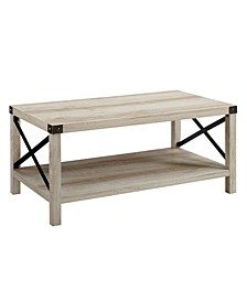 "40"" Farmhouse Metal X Coffee Table"
