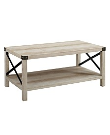 "40"" Farmhouse Metal X Coffee Table in White Oak with Bronze Accents"