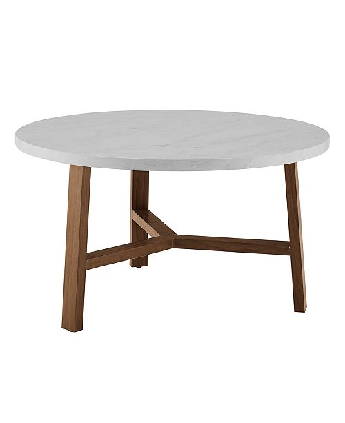 Walker Edison 30 Inch Round Coffee Table In Faux White Marble And Acorn