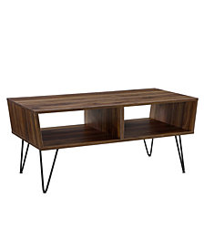 42 inch Angled Coffee Table with Hairpin Legs in Dark Walnut