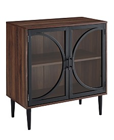 30 inch Metal Door Accent Console with Tempered Glass in Dark Walnut