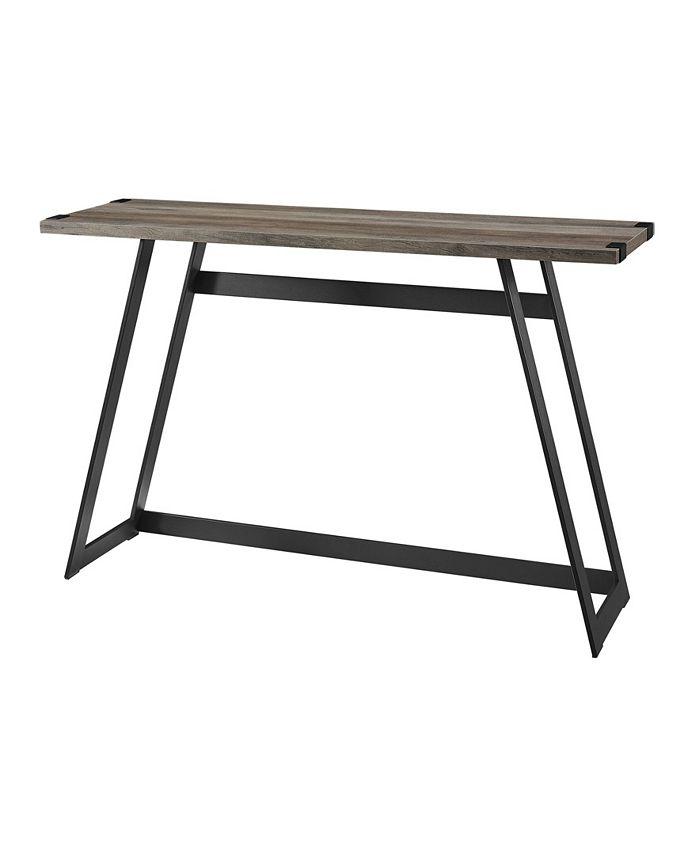 Walker Edison - 46 inch Metal Wrap Entry Table in Grey Wash