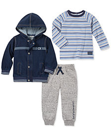 Calvin Klein Baby Boys 3-Pc. Hooded Jacket, Striped T-Shirt & Jogger Pants Set