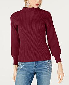 I.N.C. Volume-Sleeve Ribbed Sweater, Created for Macy's
