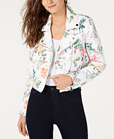 I.N.C. Floral-Print Sequin Moto Jacket, Created for Macy's