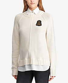 Ralph Lauren Petite Bullion-Patch Layered-Look Shirt