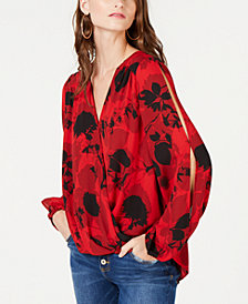 I.N.C. Split-Sleeve Surplice Top, Created for Macy's