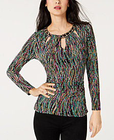 Thalia Sodi Chain-Embellished Printed Top, Created for Macy's
