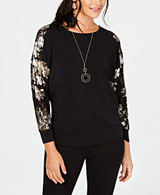 JM Collection Foil Lace Necklace Top, Created for Macy's