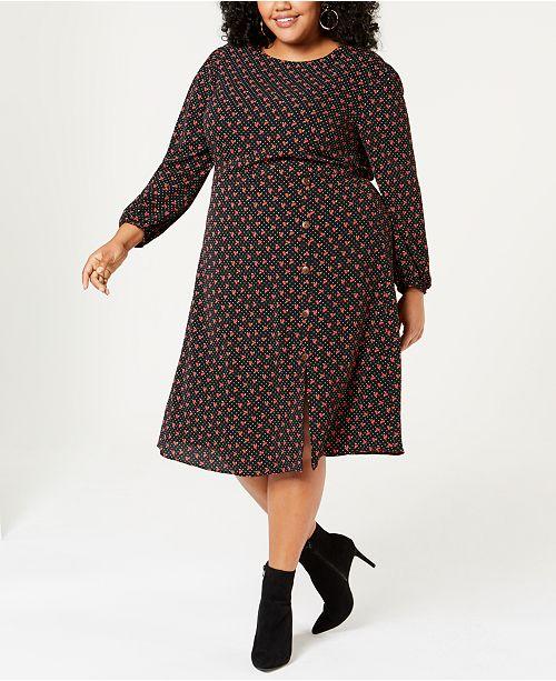 Monteau Trendy Plus Size Printed Dress - Dresses - Plus ...