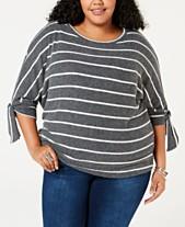 14e4f3239ec Soprano Trendy Plus Size Striped Tie-Sleeve Sweater