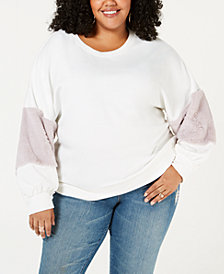 Soprano Trendy Plus Size Faux-Fur-Trim Sweatshirt