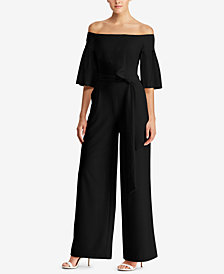 Lauren Ralph Lauren Petite Wide-Leg Off-The-Shoulder Jumpsuit