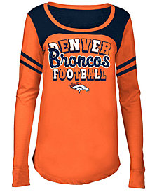 5th & Ocean Denver Broncos Sleeve Stripe Long Sleeve T-Shirt, Girls (4-16)