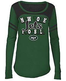 5th & Ocean New York Jets Sleeve Stripe Long Sleeve T-Shirt, Girls (4-16)