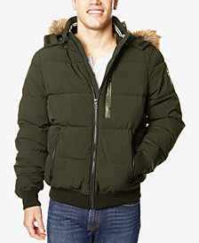 Nautica Men's Hooded Bomber Jacket with Faux-Fur Trim